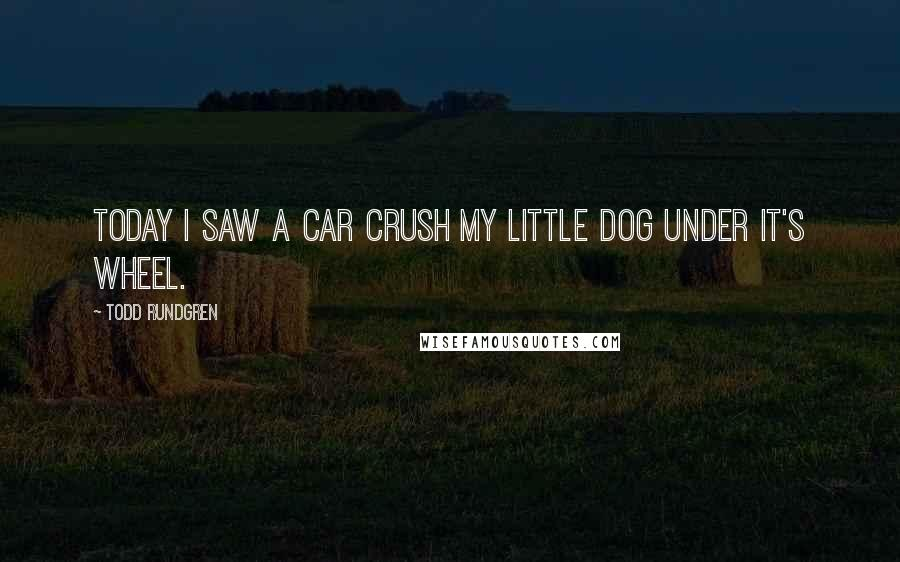 Todd Rundgren quotes: Today I saw a car crush my little dog under it's wheel.