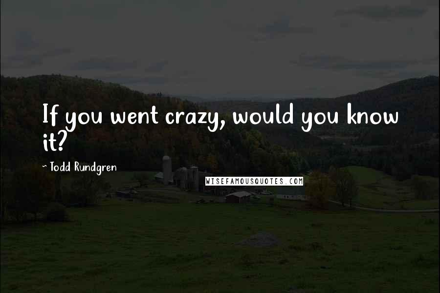 Todd Rundgren quotes: If you went crazy, would you know it?