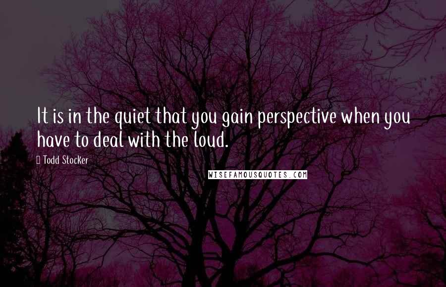 Todd Stocker quotes: It is in the quiet that you gain perspective when you have to deal with the loud.