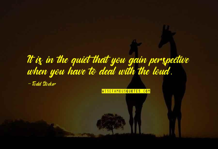 Todd Stocker Quotes By Todd Stocker: It is in the quiet that you gain