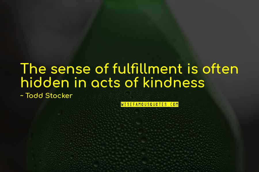 Todd Stocker Quotes By Todd Stocker: The sense of fulfillment is often hidden in