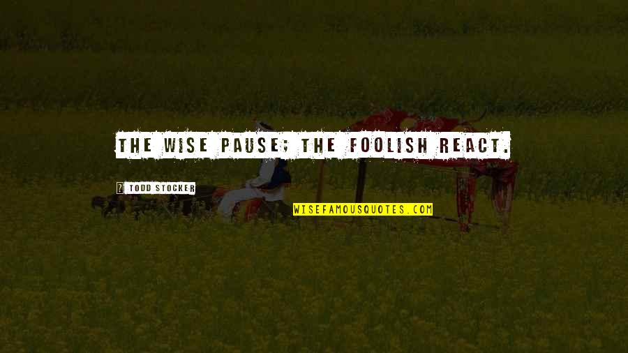 Todd Stocker Quotes By Todd Stocker: The wise pause; the foolish react.