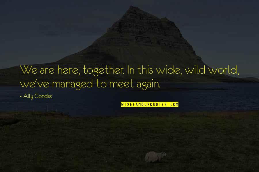 Together We Are Quotes By Ally Condie: We are here, together. In this wide, wild