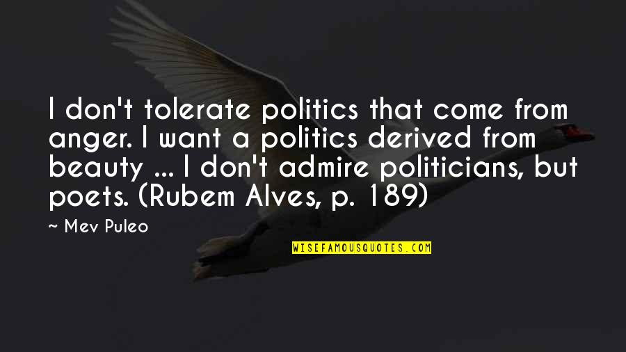 Tolerate Quotes By Mev Puleo: I don't tolerate politics that come from anger.
