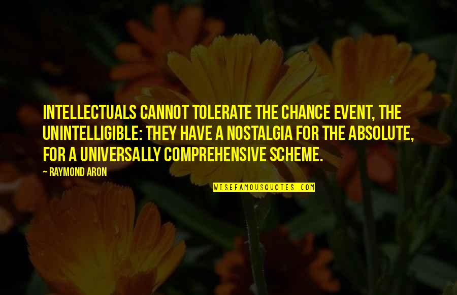 Tolerate Quotes By Raymond Aron: Intellectuals cannot tolerate the chance event, the unintelligible: