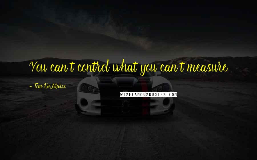 Tom DeMarco quotes: You can't control what you can't measure