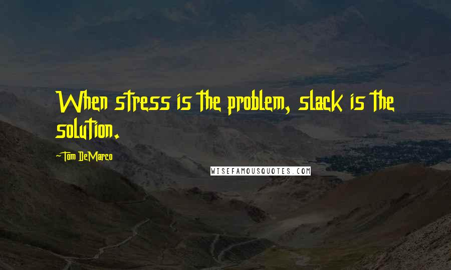 Tom DeMarco quotes: When stress is the problem, slack is the solution.