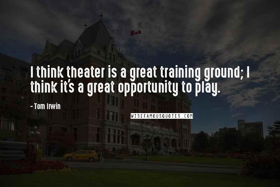 Tom Irwin quotes: I think theater is a great training ground; I think it's a great opportunity to play.