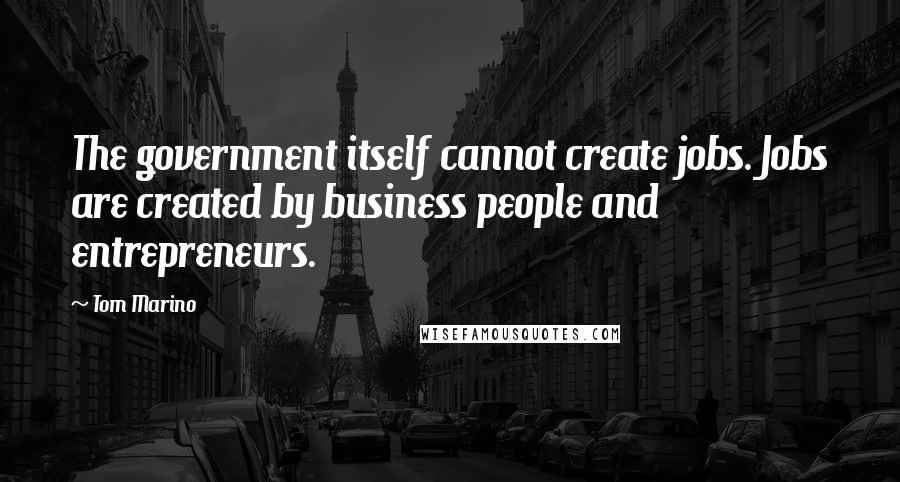 Tom Marino quotes: The government itself cannot create jobs. Jobs are created by business people and entrepreneurs.