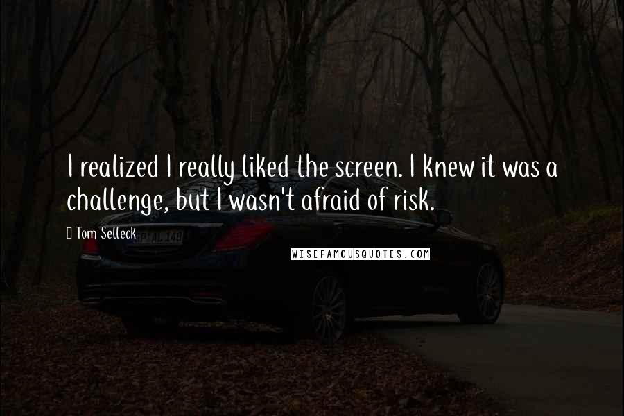 Tom Selleck quotes: I realized I really liked the screen. I knew it was a challenge, but I wasn't afraid of risk.
