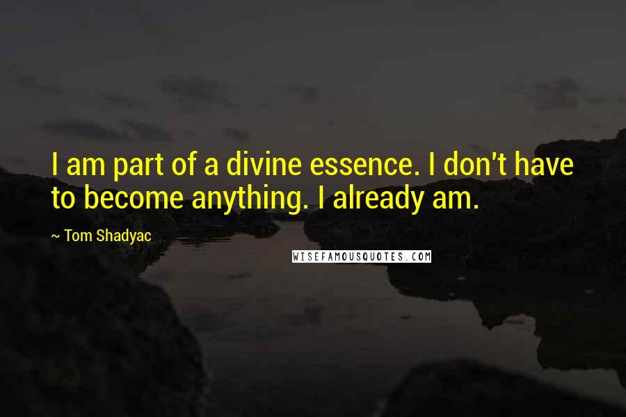 Tom Shadyac quotes: I am part of a divine essence. I don't have to become anything. I already am.