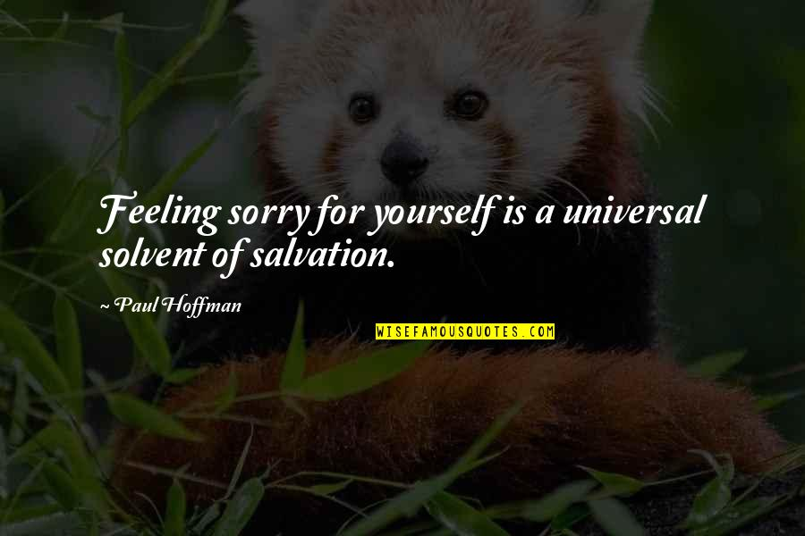 Tomas Quotes By Paul Hoffman: Feeling sorry for yourself is a universal solvent