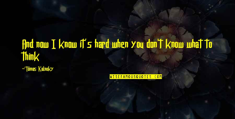 Tomas Quotes By Tomas Kalnoky: And now I know it's hard when you