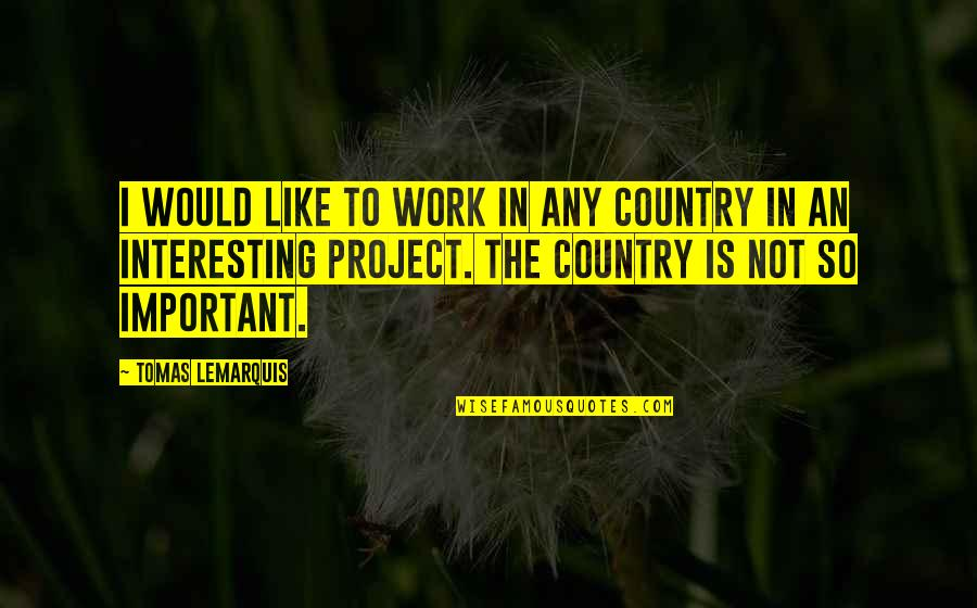 Tomas Quotes By Tomas Lemarquis: I would like to work in any country