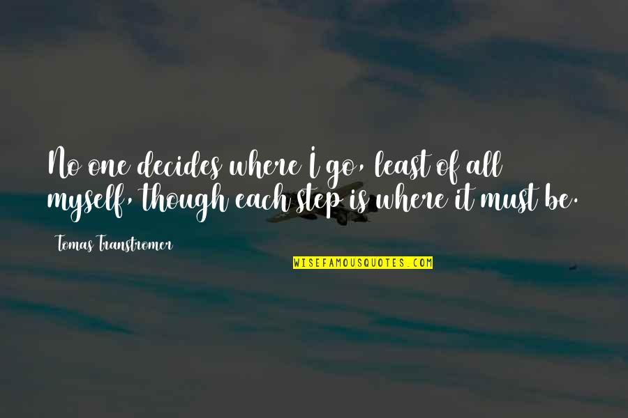 Tomas Quotes By Tomas Transtromer: No one decides where I go, least of