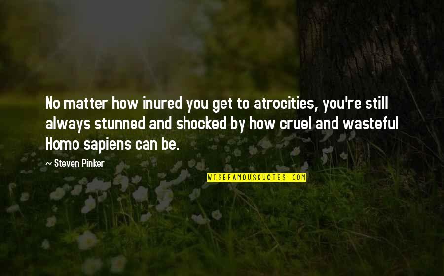 Tomorrow Isn't Promised Quotes Quotes By Steven Pinker: No matter how inured you get to atrocities,
