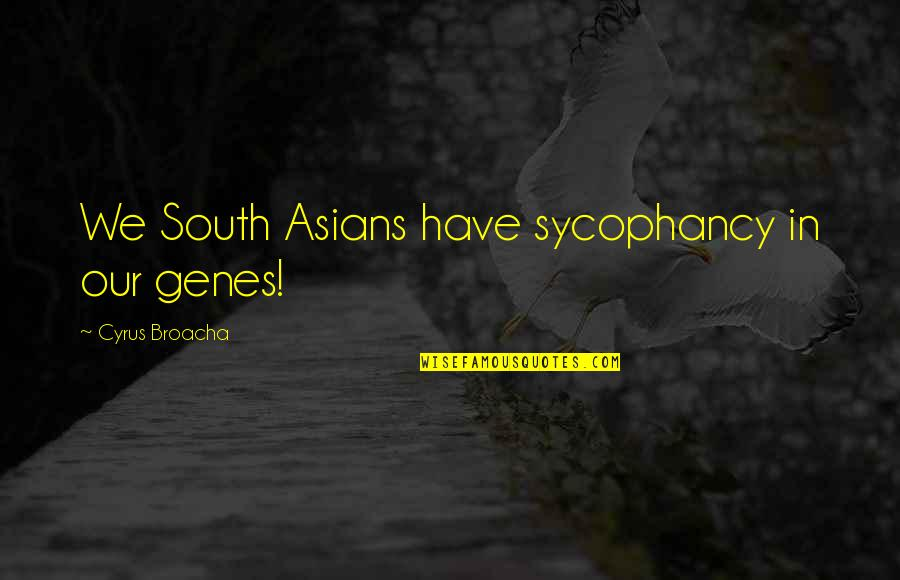 Tomorrow Will Be A Better Day Quotes By Cyrus Broacha: We South Asians have sycophancy in our genes!