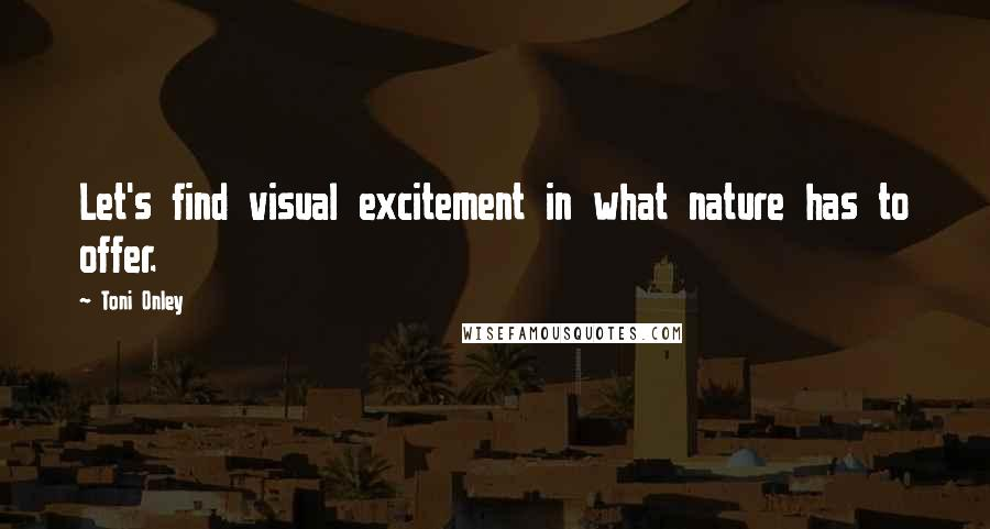 Toni Onley quotes: Let's find visual excitement in what nature has to offer.