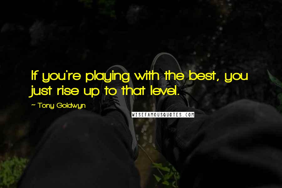 Tony Goldwyn quotes: If you're playing with the best, you just rise up to that level.