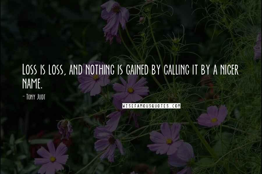 Tony Judt quotes: Loss is loss, and nothing is gained by calling it by a nicer name.