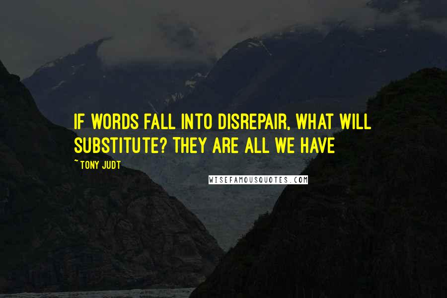 Tony Judt quotes: If words fall into disrepair, what will substitute? They are all we have