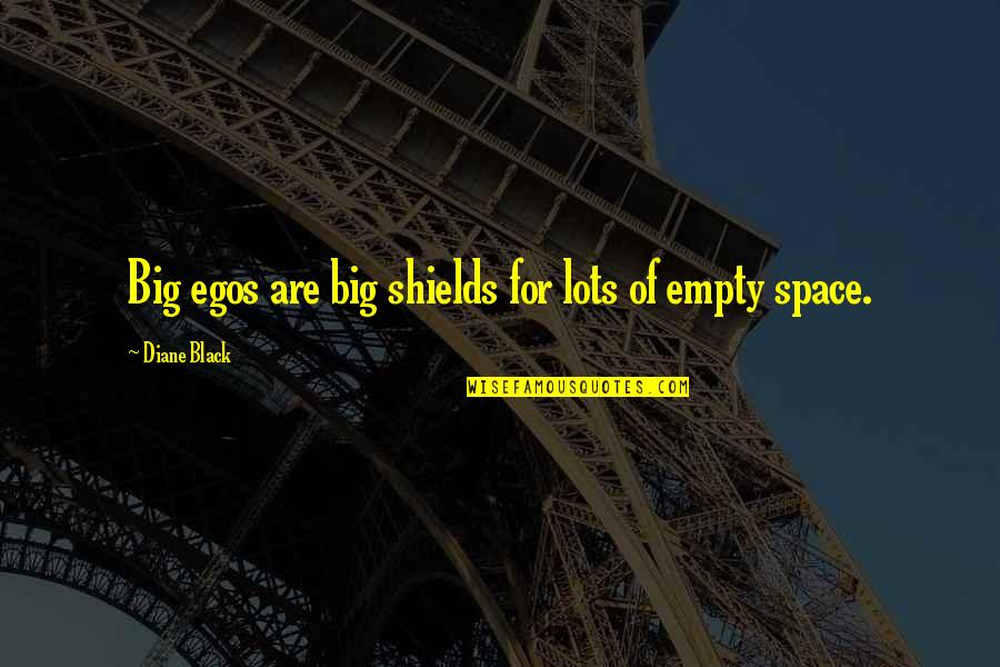 Too Big Ego Quotes By Diane Black: Big egos are big shields for lots of
