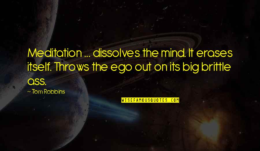 Too Big Ego Quotes By Tom Robbins: Meditation ... dissolves the mind. It erases itself.