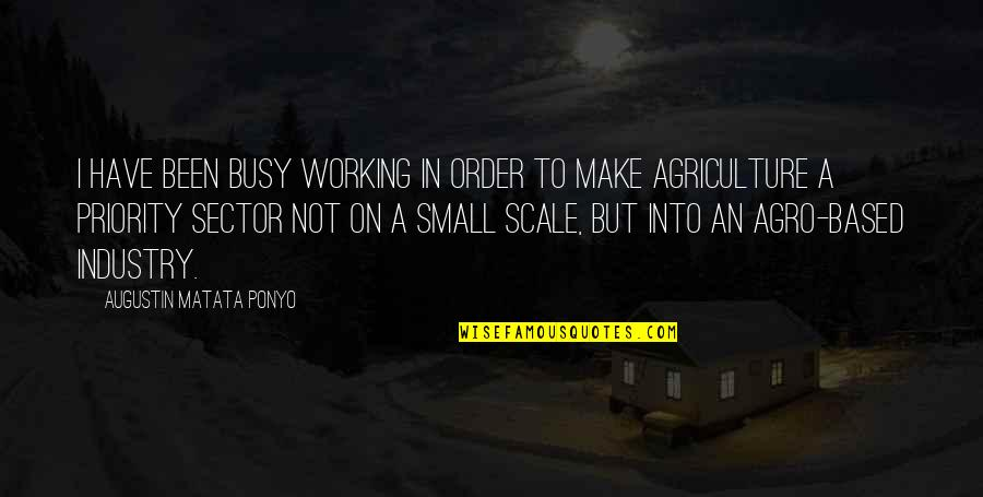 Too Busy Working Quotes By Augustin Matata Ponyo: I have been busy working in order to