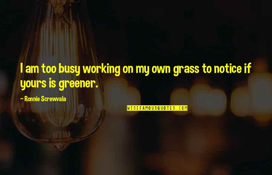 Too Busy Working Quotes By Ronnie Screwvala: I am too busy working on my own