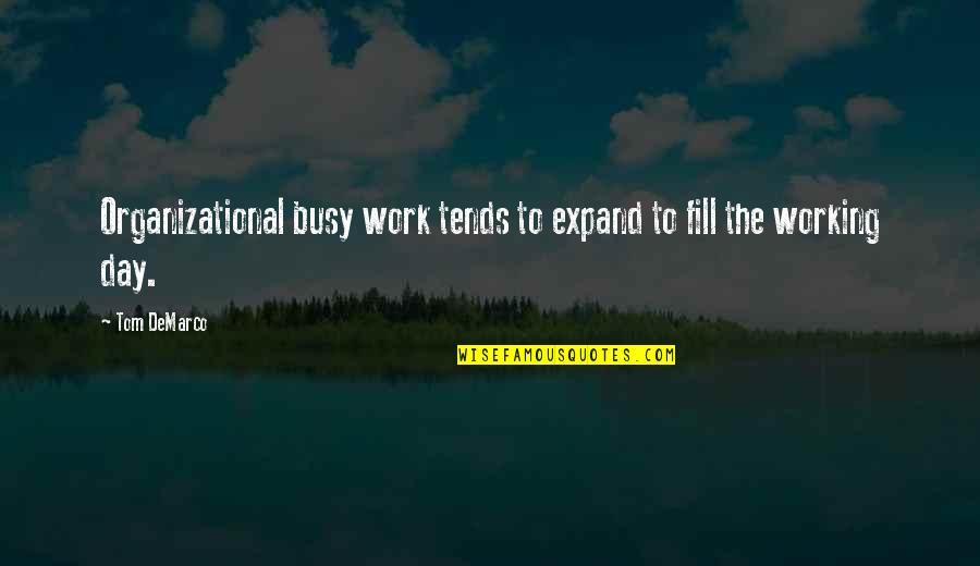 Too Busy Working Quotes By Tom DeMarco: Organizational busy work tends to expand to fill