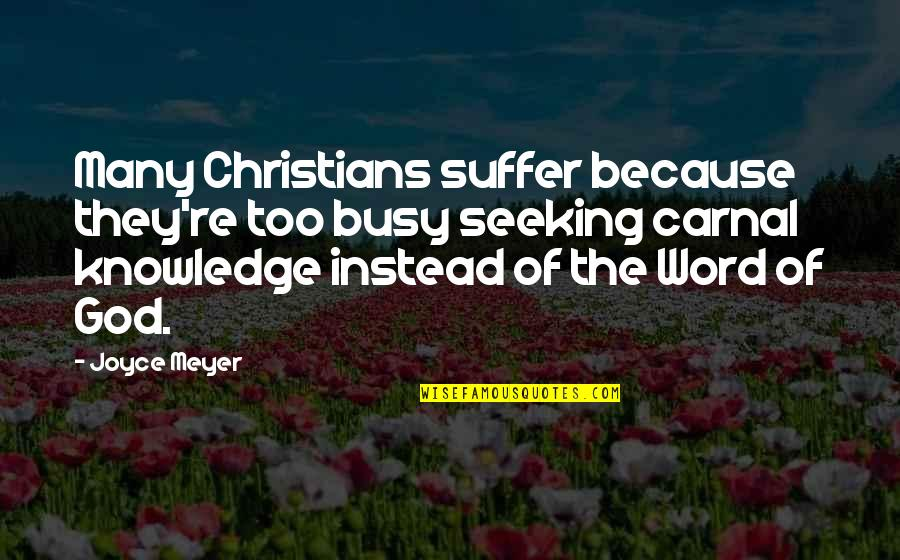 Too Many Quotes By Joyce Meyer: Many Christians suffer because they're too busy seeking