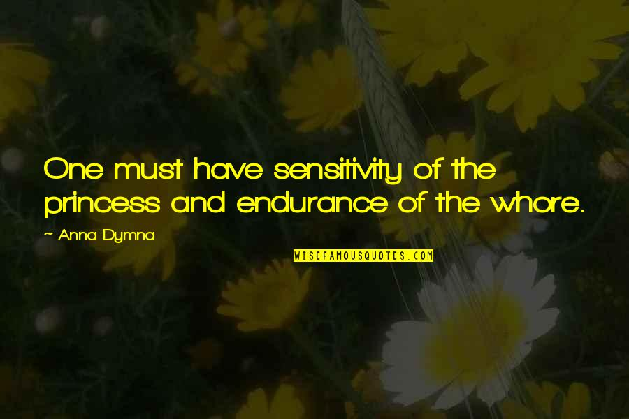 Too Much Sensitivity Quotes By Anna Dymna: One must have sensitivity of the princess and