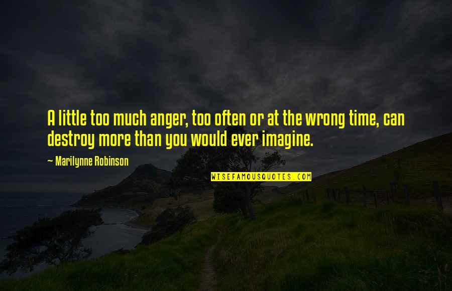 Too Often Quotes By Marilynne Robinson: A little too much anger, too often or
