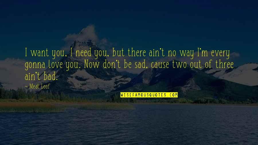 Too Sad Love Quotes By Meat Loaf: I want you, I need you, but there