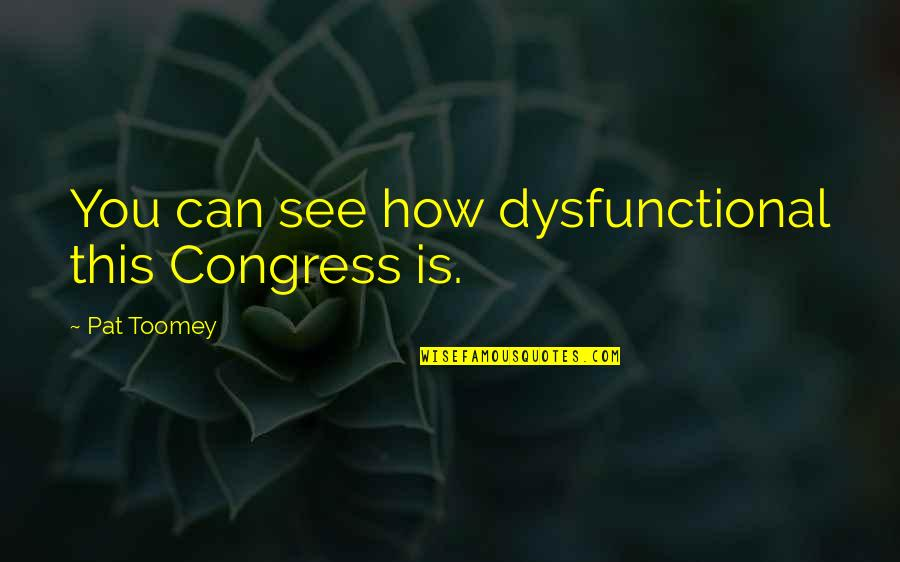 Toomey Quotes By Pat Toomey: You can see how dysfunctional this Congress is.