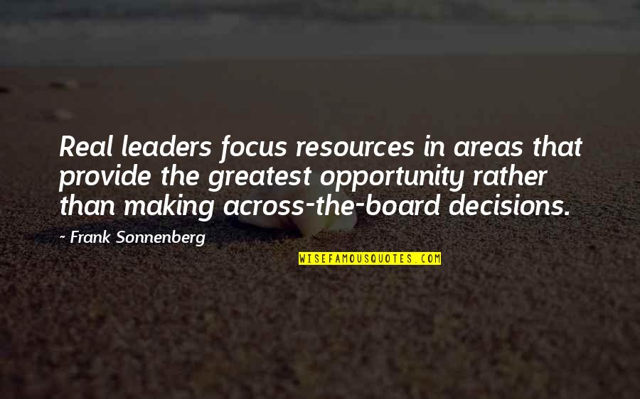 Top Gun Flyby Quotes By Frank Sonnenberg: Real leaders focus resources in areas that provide