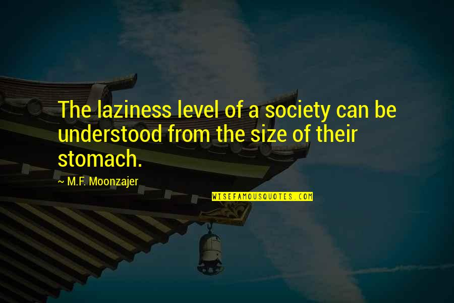 Top Gun Flyby Quotes By M.F. Moonzajer: The laziness level of a society can be
