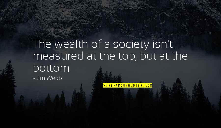 Top Of Quotes By Jim Webb: The wealth of a society isn't measured at