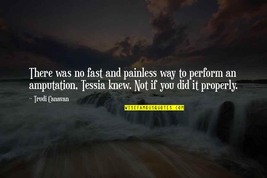 Topped Quotes By Trudi Canavan: There was no fast and painless way to