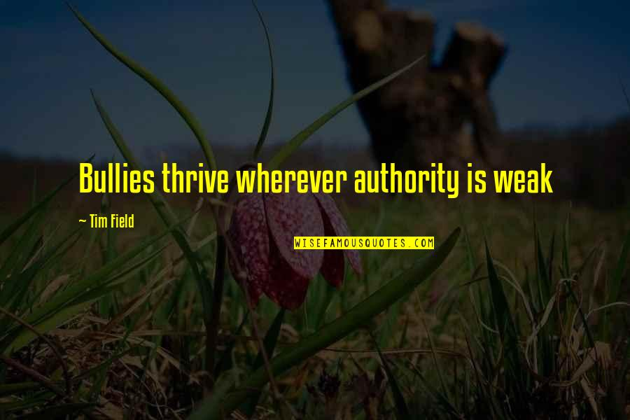 Toques With Quotes By Tim Field: Bullies thrive wherever authority is weak