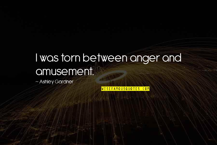 Torn In Between Quotes By Ashley Gardner: I was torn between anger and amusement.