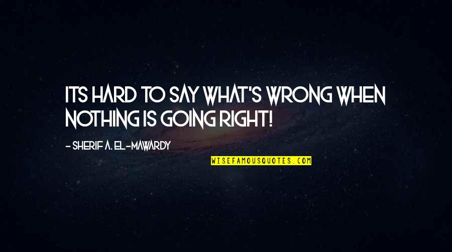 Tortured's Quotes By Sherif A. El-Mawardy: Its hard to say what's wrong when nothing