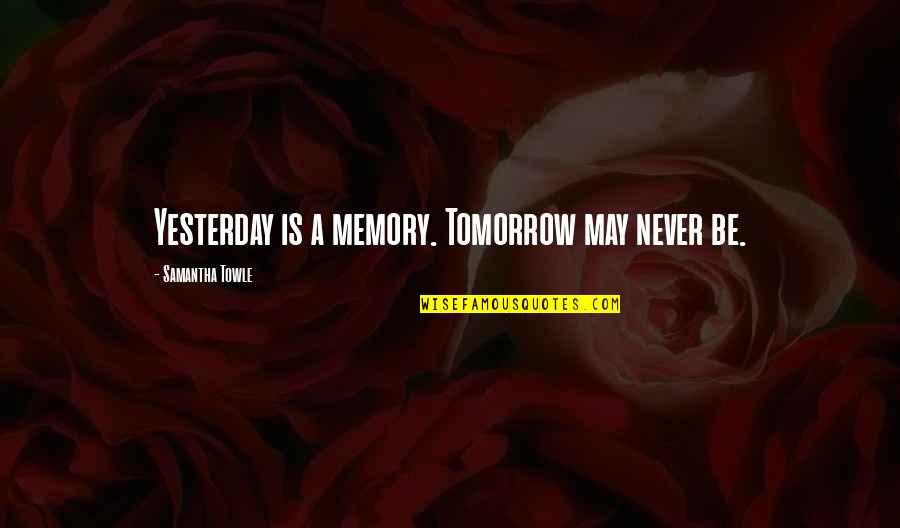 Toshinou Kyouko Quotes By Samantha Towle: Yesterday is a memory. Tomorrow may never be.