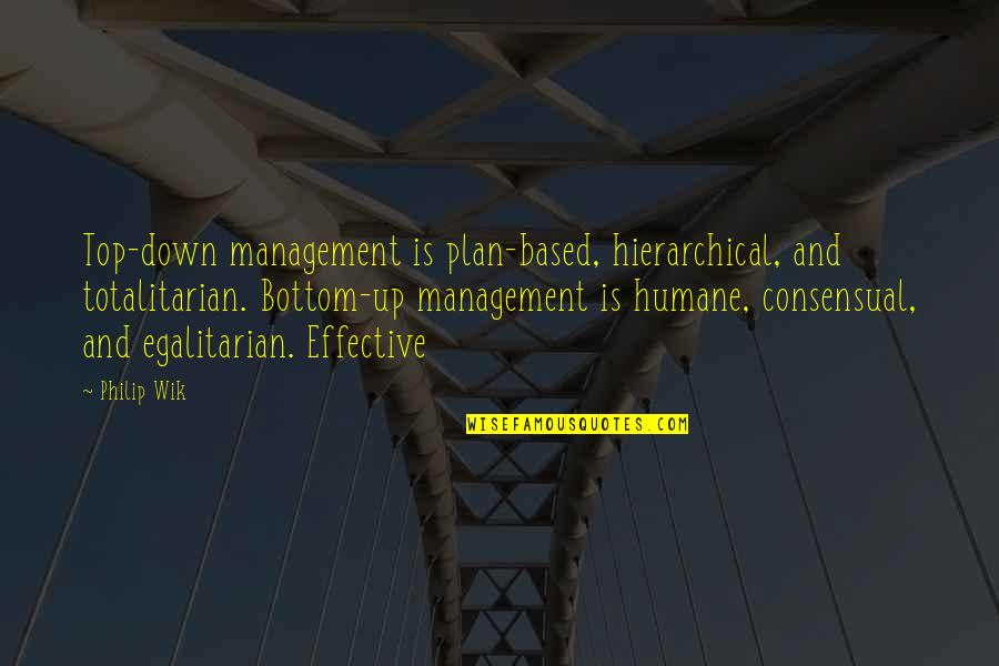 Totalitarian's Quotes By Philip Wik: Top-down management is plan-based, hierarchical, and totalitarian. Bottom-up