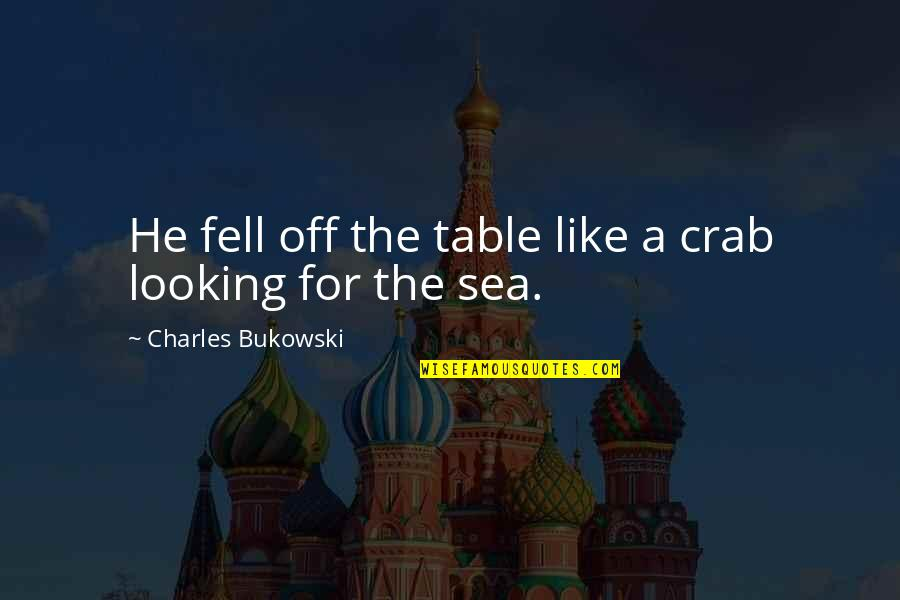 Totare Quotes By Charles Bukowski: He fell off the table like a crab