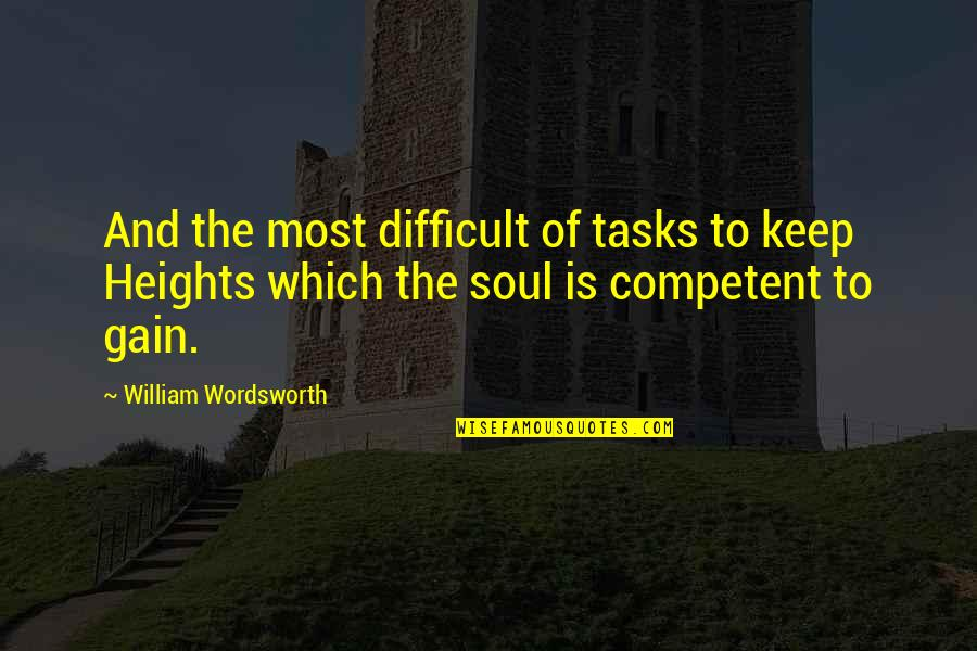 To'the Quotes By William Wordsworth: And the most difficult of tasks to keep