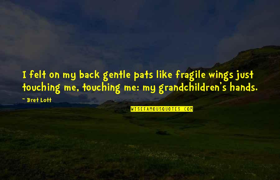 Touching Hands Quotes By Bret Lott: I felt on my back gentle pats like