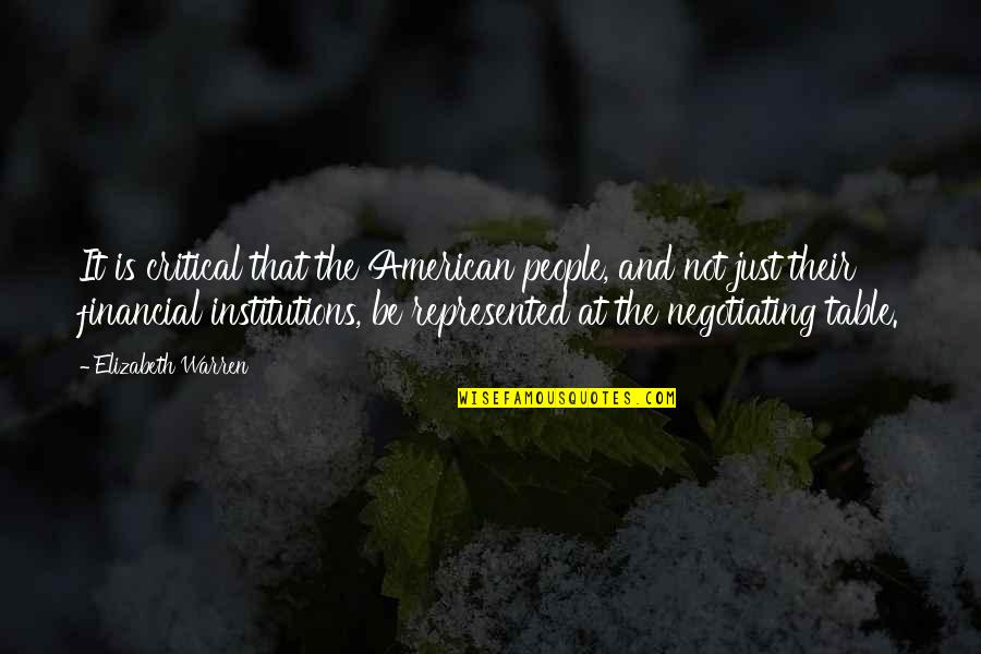 Trading Stocks Quotes By Elizabeth Warren: It is critical that the American people, and