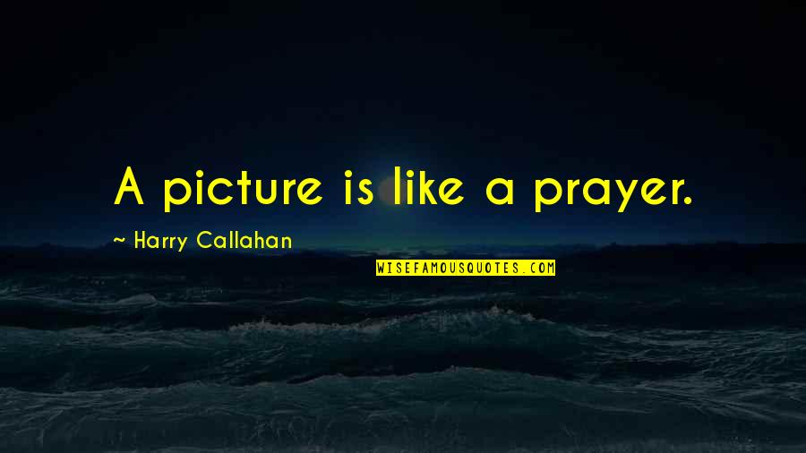 Tragegy Quotes By Harry Callahan: A picture is like a prayer.