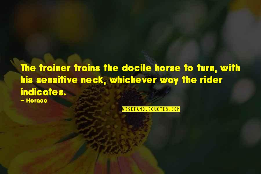 Trains Quotes By Horace: The trainer trains the docile horse to turn,